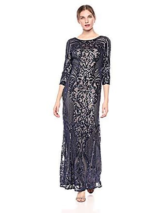 058280b61fa Alex Evenings Womens Long V-Neck Fit and Flare Dress Lace