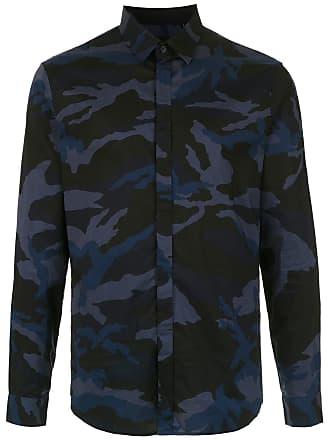 Armani Camisa camuflada mangas longas - Azul