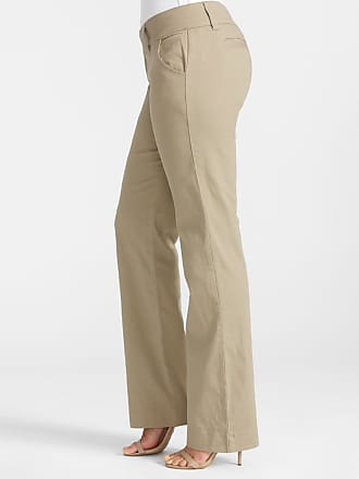 Alloy Apparel Tall Extended Tab Twill Flare Plus Size Pants for Women Khaki 16/35