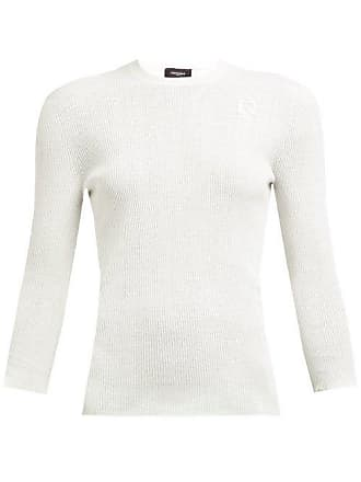 Rochas Monogram Embroidered Ribbed Cotton Knit Top - Womens - White