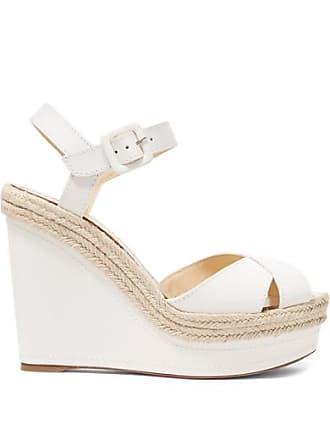 c2921792bf93 Christian Louboutin Almeria 120 Leather Espadrille Wedge Sandals - White