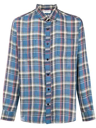 Saint Laurent Camisa xadrez mangas longas - Azul