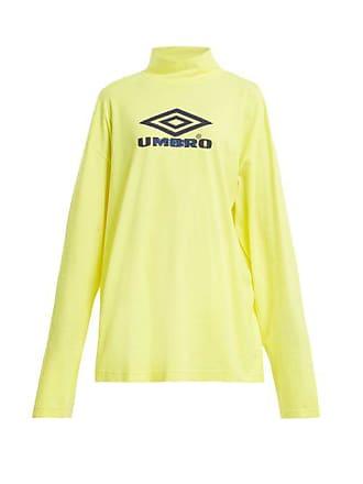 VETEMENTS X Umbro Long Sleeved Cotton Jersey Top - Womens - Yellow