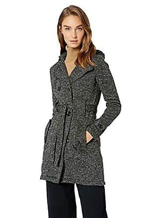 Yoki Womens Double Breast Long Fleece Jacket, Black Sweater, Large