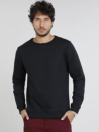 Basics Blusão Masculino Básico em Moletom Preto