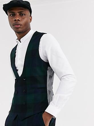 Twisted Tailor Ashby - Gilet super skinny a quadri grandi verde