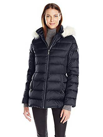 7da66c197a6 Halifax Traders Womens Mid-Length Puffer Coat with Faux Fur Hood, Mystic  Blue,