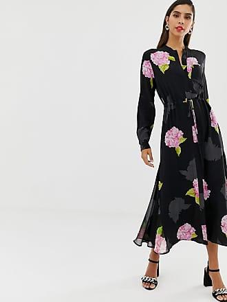 ee53fa00051a French Connection Blommig skjortklänning i midilängd - Svart flerfärgad