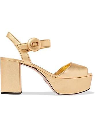 9e811f5acea Prada Metallic Textured-leather Platform Sandals - Gold