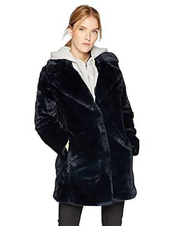 Kendall + Kylie Womens Faux Rabbit Fur Jacket, Midnight, Medium