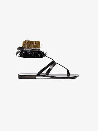 ÁLVARO GONZÁLEZ black Ariana Raffia flat leather sandals