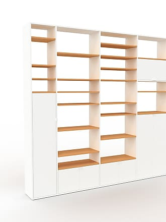 MYCS Bibliothèque - Blanc, pièce de caractère, rangements raffiné, avec porte Blanc - 265 x 253 x 35 cm, configurable