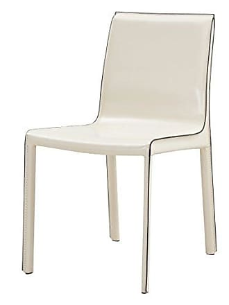 New Pacific Direct Gervin Recycled Leather Chair,Powder Coated Steel,Vanilla White,Fully Assembled,Set of 2