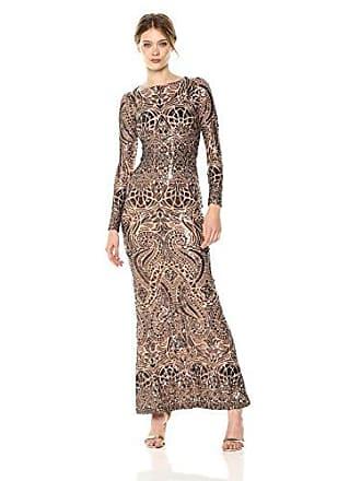 b3a91340a764 Betsy & Adam Womens Long Sleeve Bluson Sequin Gown, Bronze, ...