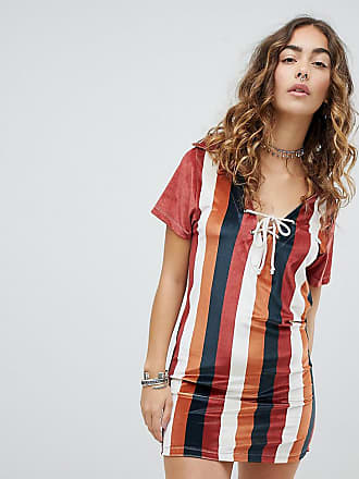 Sacred Hawk Polo Shirt Dress In Velvet Stripe - Multi