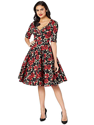 Unique Vintage 1950s Delores Swing Dress with Sleeves (Black/Red Roses Print) Womens Dress