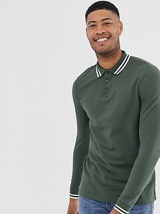 e49d8de4615 Asos Tall long sleeve tipped pique polo shirt in khaki - Green