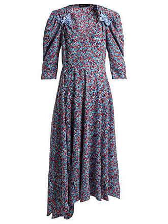 1d9a5a72147fb6 ANNA OCTOBER Bow Embellished Floral Print Dress - Womens - Blue Multi