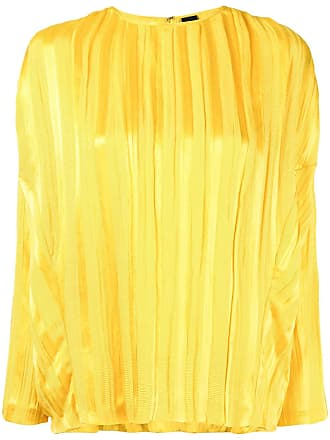 Zero + Maria Cornejo Blusa plissada com mangas longas - Amarelo