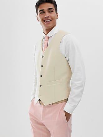 Asos Chaleco de traje de boda de corte slim color crema de mezcla de lana de 69234b90bce7