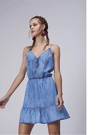 Damyller Vestido Jeans Barra com Babado Tam: P/Cor: BLUE