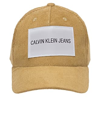 Calvin Klein BONÉ MASCULINO VELUDO ETIQUETA LOGO - MARROM