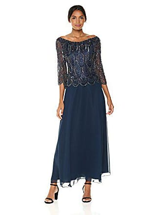 J Kara Womens 3/4 Scallop Beaded Pop Over Gown, Navy/Mercury 6