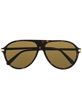 Brioni Óculos de sol aviador tartaruga - Marrom
