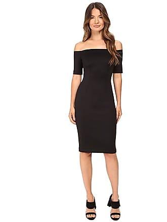 Yigal AzrouËl Black Scuba Off the Shoulder Dress (Black) Womens Dress