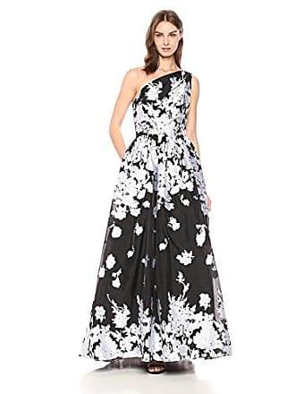 f3464a33ff09e Carmen Marc Valvo Womens one Shoulder Organza Ballgown, Black/White, 6
