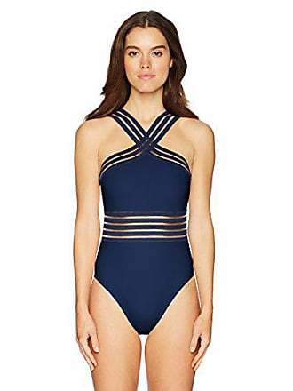 ba9fe9f347 Kenneth Cole Womens High Neck Cross Front Banded One Piece Swimsuit,  Midnight // Stompin