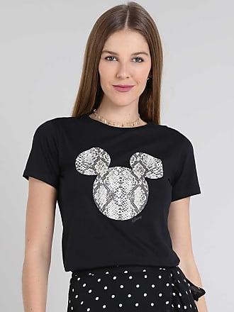 Disney Blusa Feminina Mickey Animal Print Manga Curta Decote Redondo Preta