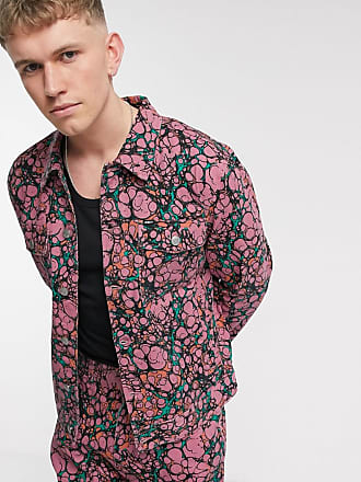 Obey Botch all-over print denim jacket in coral multi-Pink