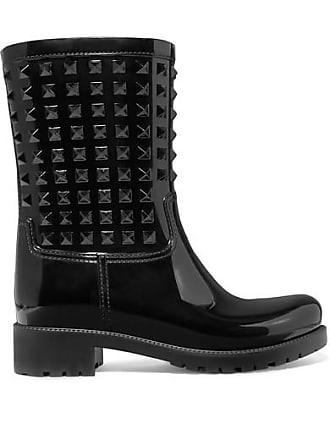 f5403c7be7c Valentino Valentino Garavani The Rockstud Glossed-rubber Rain Boots - Black