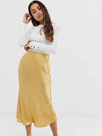 Asos Petite ASOS DESIGN Petite bias cut satin slip midi skirt - Gold
