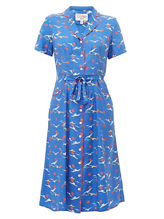 HVN Hvn - Maria Bird Print Silk Midi Dress - Womens - Blue