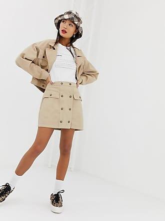 Signature 8 button down a-line skirt - Beige