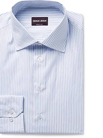 e0a1393b Giorgio Armani Slim-fit Blue Pinstriped Cotton-poplin Shirt - Blue