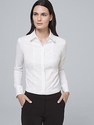 White House Black Market Womens Grosgrain-Detail Shirt by White House Black Market, White, Size 14
