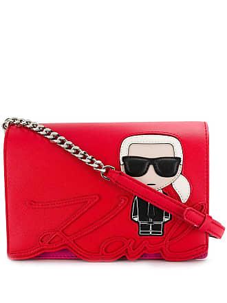 Karl Lagerfeld Bolsa transversal com aplicação e logo - Vermelho