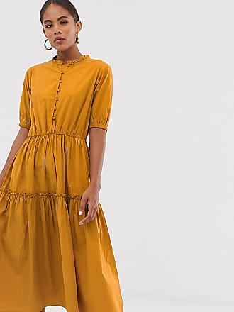 Y.A.S. Tall button through tiered smock dress-Green