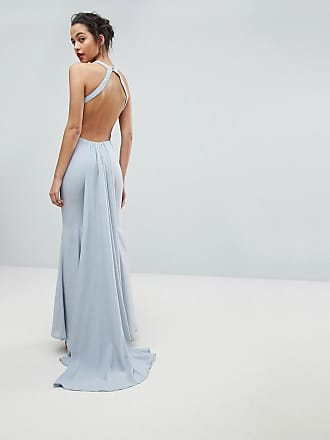 Jarlo Open Back Maxi Dress With Train Detail - Gray