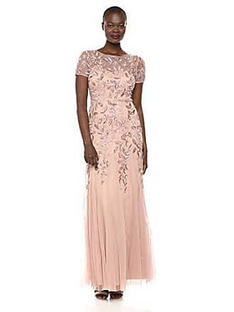 Adrianna Papell Womens Floral Beaded Godet Gown, Rose Gold, 12