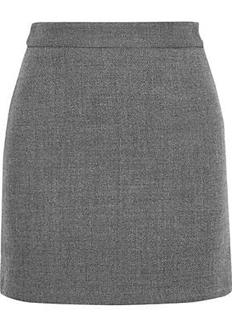 Milly Milly Woman Modern Wool-blend Twill Mini Skirt Gray Size 10