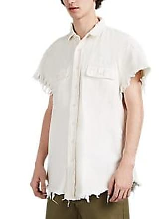 R13 Mens Dirty-Wash Denim Short-Sleeve Oversized Shirt - White Size XL