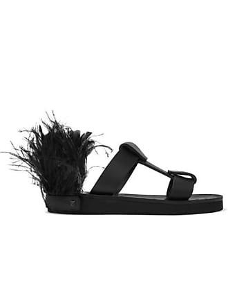 c0ae9d805af10 Valentino Valentino Garavani Feather-embellished Leather Slides - Black