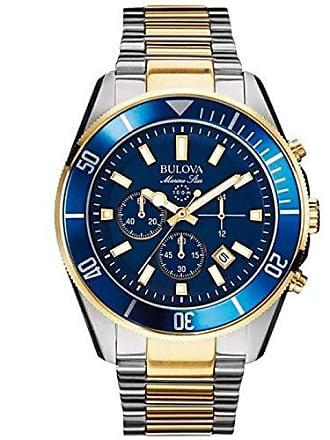 Bulova Relógio Masculino Bulova Marine Star WB31774F - Prata/Dourado