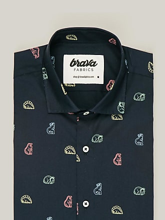 Brava Fabrics Mens Shirt - Mens Casual Shirt - Mens Shirt - 100% Cotton - Model Dinosaurus Cookies
