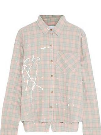 Current Elliott Current/elliott Woman The Ivie Open-back Painted Checked Cotton-blend Shirt Pastel Pink Size 0