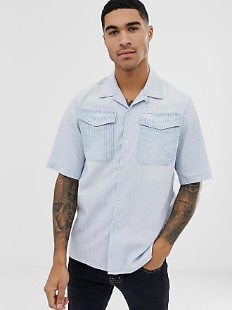 G-Star Bristum utility short sleeve stripe shirt in blue - Blue